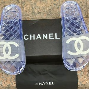 Chanel Authentic clear PVC jelly pool slides 37